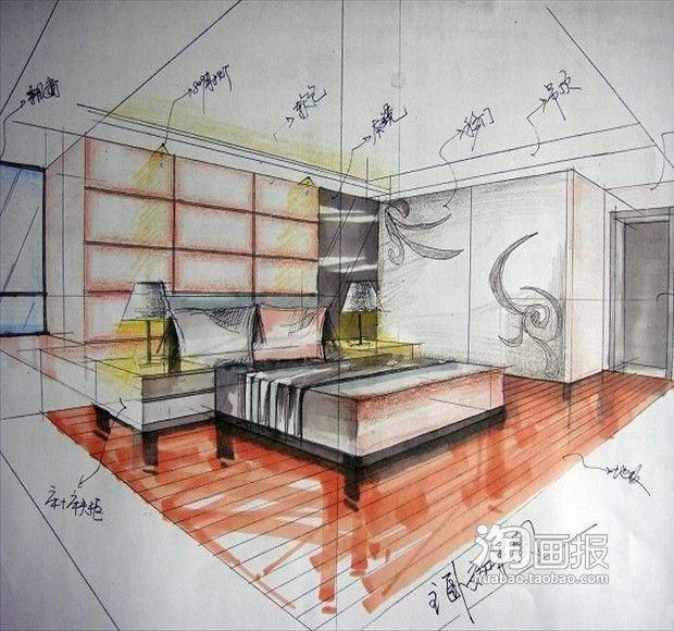 两点透视卧室内手绘图