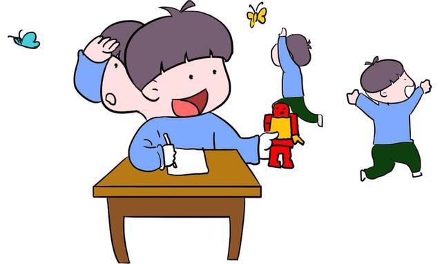 小学生上课卡通图片