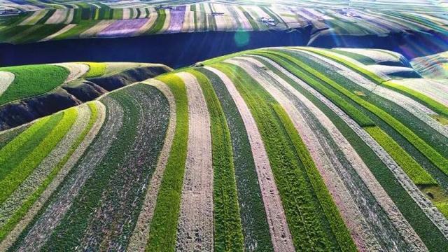 空中看榆林:大地上现五彩画卷