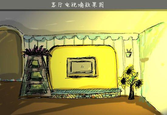 客厅的手绘效果图,光线极温馨,也极假,哈哈.