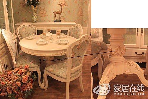 象牙白的餐桌(装修效果图),搭配粉绿色的碎花布艺餐椅,清新优雅的田园