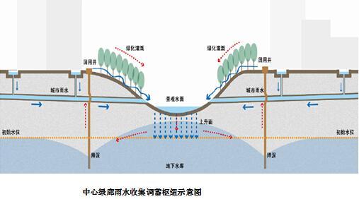 图解:中央雨洪系统形成调蓄枢纽