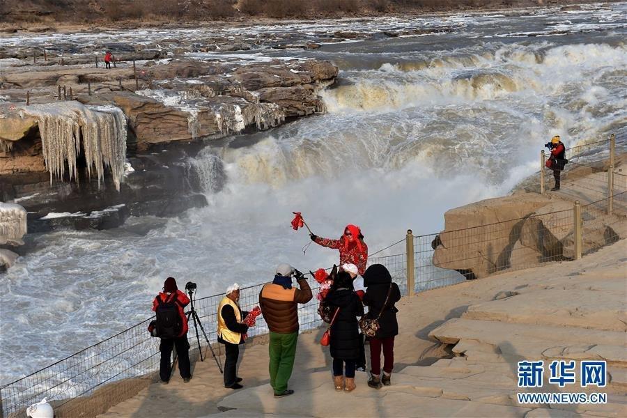 黄河壶口瀑布现流凌冰挂奇特景观2016.1.14 - fpdlgswmx - fpdlgswmx的博客