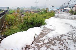 西安邓家村路边流出大量泡沫 群众担心安全