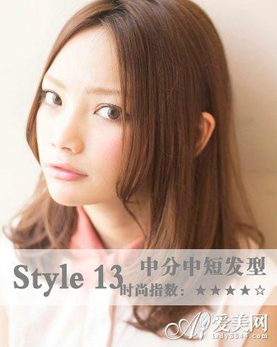 中分刘海中短发型  染发颜色:咖啡棕色  推荐指数:  发尾微卷设计图片