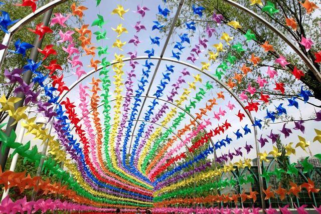 贵宾口等位置摆放大型户外花卉造型图片