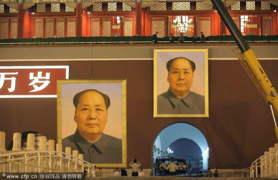 迎国庆天安门换新毛主席像