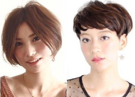 中分短发VS碎发短发  中分短发的修颜指数达三颗星.中分的刘海加上图片
