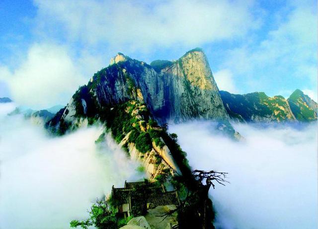 华山风景马克笔手绘
