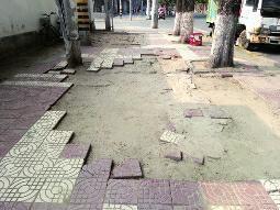 渭滨路200米长人行道地砖多处破损 无法行走