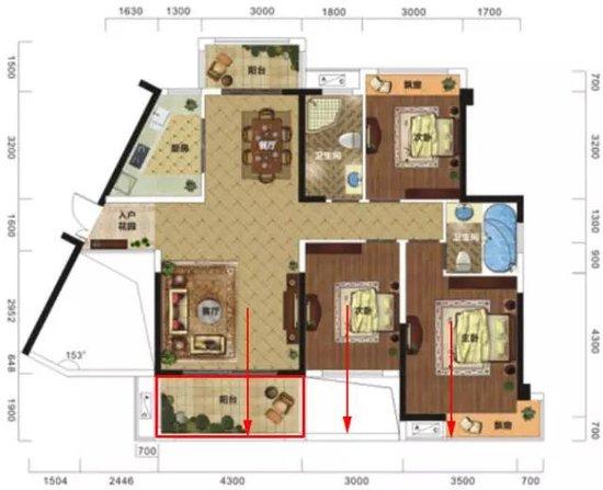 户型解读 l 130㎡,三房朝南,自然风住宅