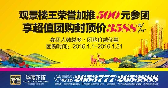 华厦龙成 观景楼王新年团购封顶价3588元/m2