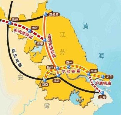 连淮扬镇铁路走向示意图-新江湾城模式再现 扬州江广融合地带图片