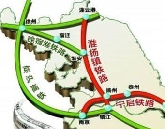 连淮扬镇铁路路线图-北沿江助扬州打入上海都市圈 三大铁路挺起发展图片