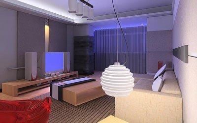 客厅背景墙装修效果图:蓝色的丝绒面和凸起的白色木条-客厅电视背高清图片