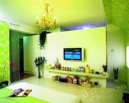 客厅背景墙装修效果图:电视放进书柜里-客厅电视背景墙 时尚百变的