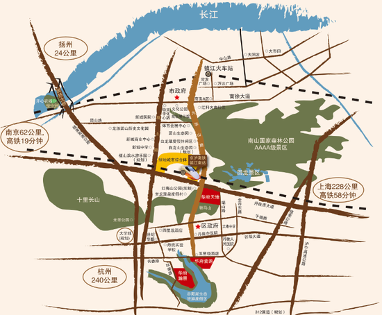 镇江南山手绘地图
