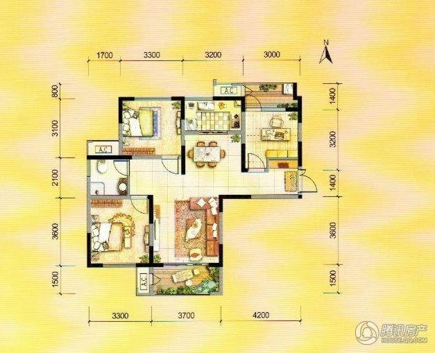 图说100平米左右的小三室图片
