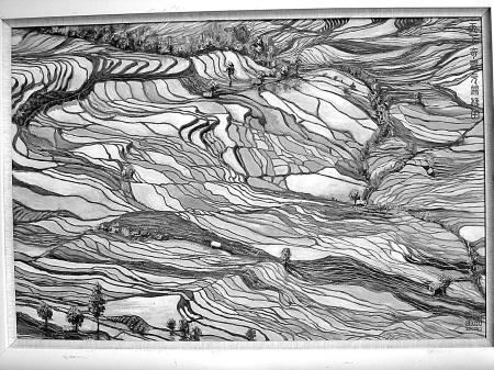 尽显东方神韵,风景画饱含诗情画意,动物画和花卉题材的作品则动态气势