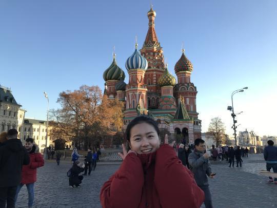 图为钱贝在莫斯科.林梦省提供图片