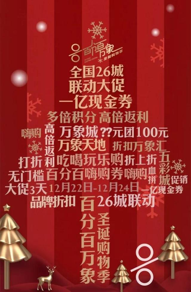 圣诞购物季   1亿现金券全国发售,88团100开抢了!