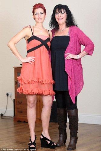 减肥成功后的丹妮尔左和母亲