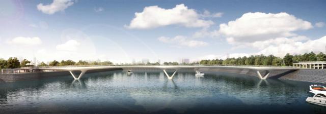 开工啦!一一城东新区滨江一期人行景观桥开工建设