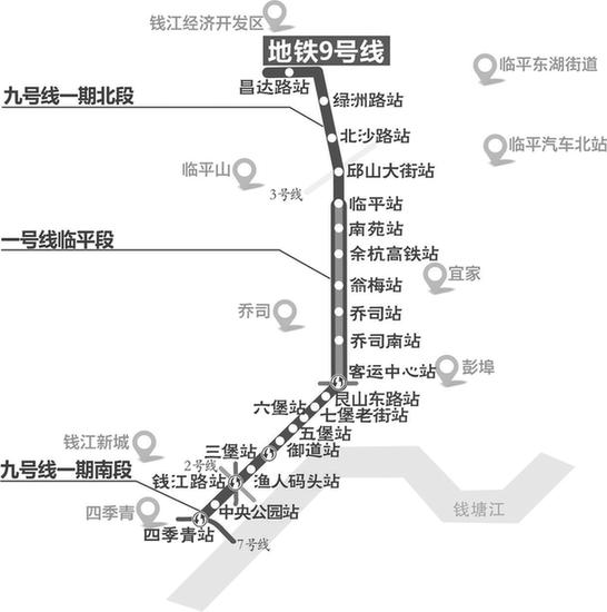 杭州地铁9号线一期多个站点开工 预计2020年6月完工