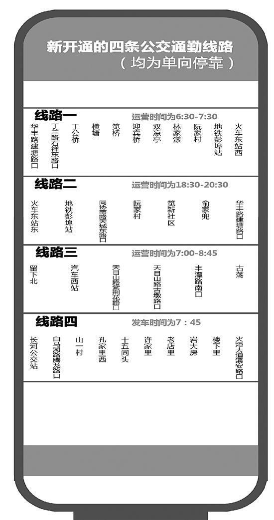 杭州公交线路开通4条早晚高峰通勤线路