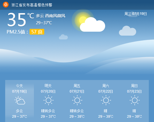 预计今天嘉兴最高气温将达38℃ 请注意防范
