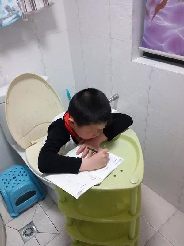 杭州一小朋友坐马桶上做作业 照片笑晕朋友圈