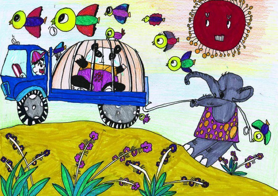 童画画大赛_中国儿童环保绘画大赛优秀作品:保护生物多样