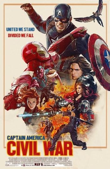 漫画家设计《美国队长3》复古风海报