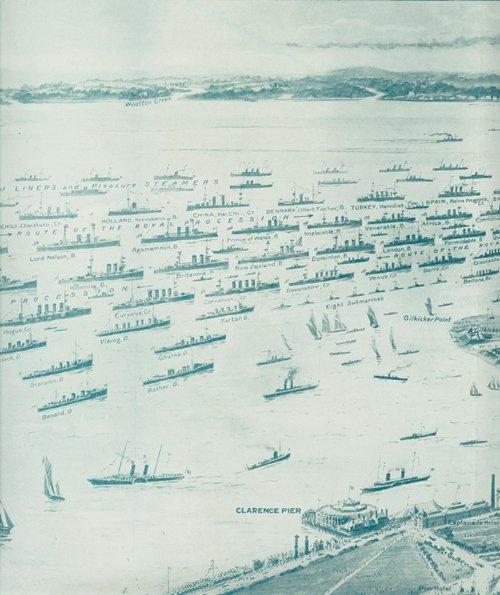"""乔治五世加冕阅舰仪式军舰排列图局部,从上往下数,第三排左起第三艘军舰为""""海圻""""(图片选自陈悦《清末海军舰船志》)"""