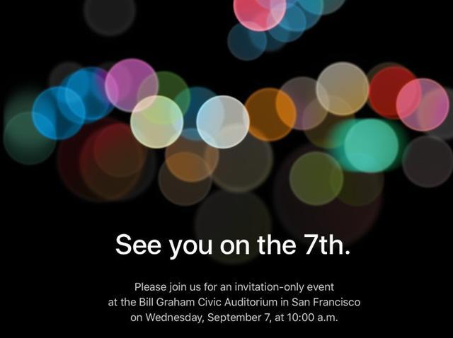 苹果发出邀请函 iPhone 7将于9月7日发布