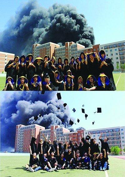 腾讯网大连站_大连理工学生着火淡定拍照 被称为自杀式毕业照_教育_腾讯网