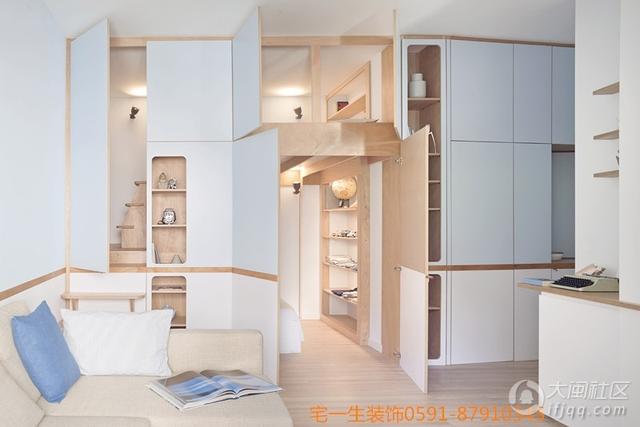 单身公寓翻新的小现代