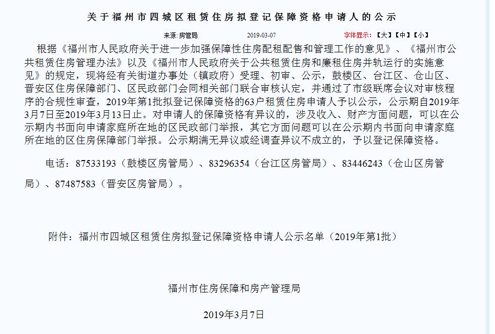 福州房管局发布四城区租赁房拟申请人资格公示(附名单)