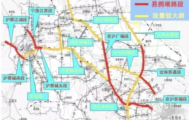 沪蓉高速南京绕城,镇江,常州,无锡西段,沈海高速雪岸枢纽至南通北枢纽