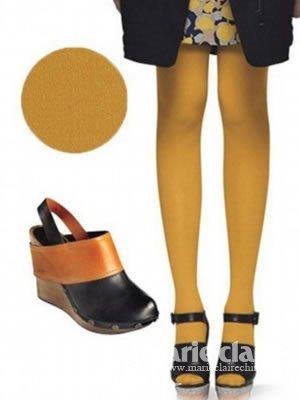 短裙短裤显瘦搭彩袜+高跟鞋
