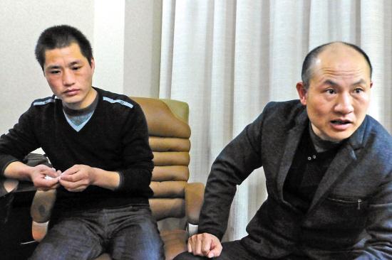 张辉、张高平叔侄二人接受采访
