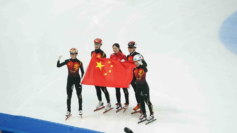 中国队力夺短道速滑世界杯中国站2000米混合接力与女子3000米接力金牌精彩瞬间