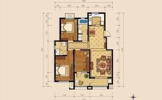洋房三室两厅两卫户型 125平