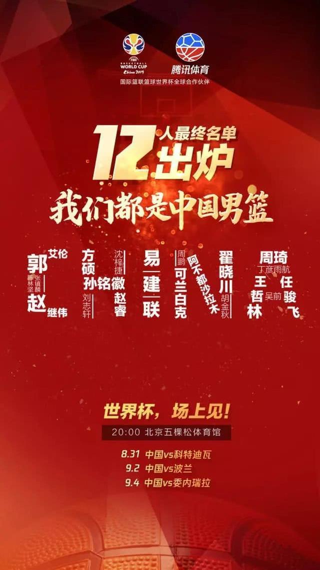 粤辽京疆统治男篮12人名单 CBA新季争冠也看他们
