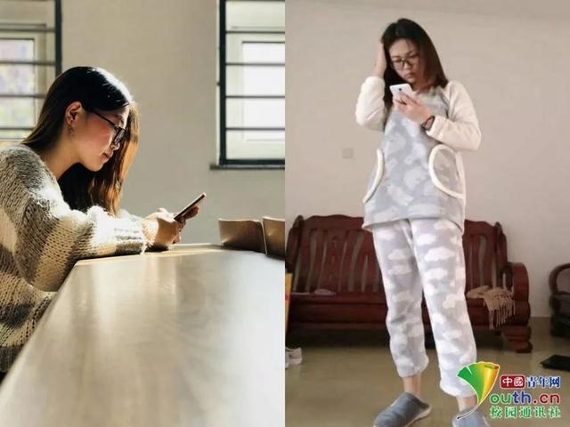 圖為揚州大學大一學生居曉雯寒假回家前與回家后的對比照片.圖片