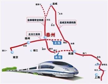 根据规划沿途经过南京,六合,仪征,扬州,泰州,南通和上海,贯穿整个苏中